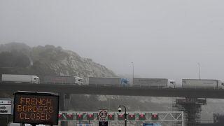 Des camions bloqués en Angleterre