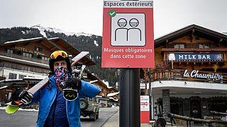 Skifahrer in Verbier in der Schweiz