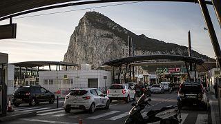 Cars queue to cross the border between Spain and Gibraltar, in La Linea de la Concepcion, Spain.