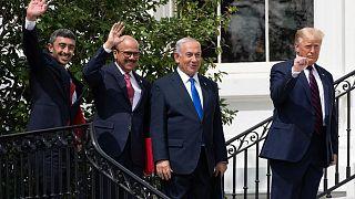 في البيت الأبيض بواشنطن، عقب التوقيع على تطبيع الإمارات والبحرين للعلاقات مع إسرائيل
