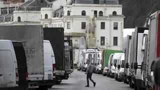 Goods vans wanting to return to Europe are parked along the seafront whilst the Port of Dover remains closed in southern England
