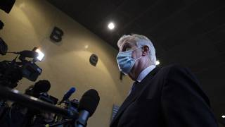 Michel Barnier speaking to journalists at EU headquarters in Brussels on Tuesday