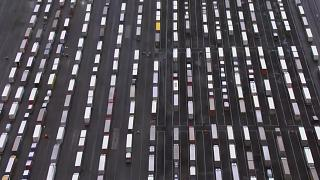 Aerials of trucks at lorry park
