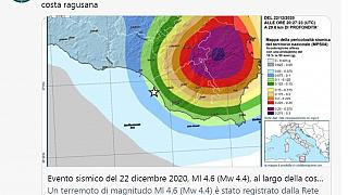 Il tweet con cui l'INGV ha rettificato la magnitudo del sisma