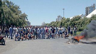Huelguistas en San Lorenzo (Argentina)
