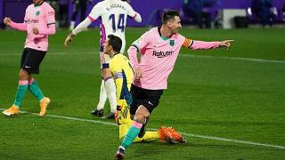 Messi celebrates his record-breaking goal