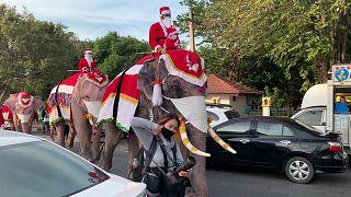 فيلة بزي سانتا كلوز توزع الكمامات في مدرسة تايلاندية