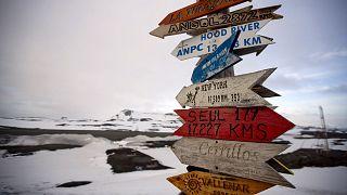 Antartika'daki Kral George Adası'nda dünyanın bazı kentlerine olan mesafeyi gösteren ahşap levha.
