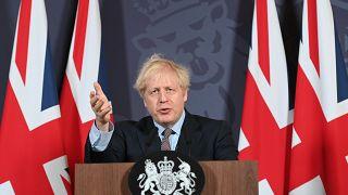El primer ministro de Reino Unido Boris Johnson en una comparencia en la que explica el acuerdo de Brexit.