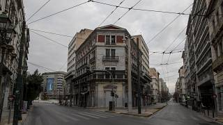 Calles vacias cerca de la plaza de Omonia, en Atenas