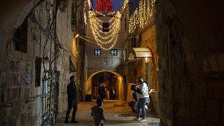 Karácsonyi fények Jeruzsálem óvárosában