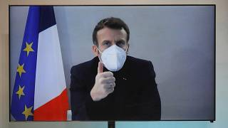 Emmanuel Macron attends by video conference a round table for the National Humanitarian Conference (NHC),  Dec. 17, 2020.
