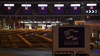 Empty vehicle lanes at the entrance to the Port of Dover, in Dover, England, Wednesday, Dec. 23, 2020.