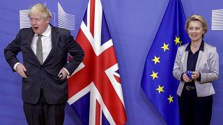 File: European Commission President Ursula von der Leyen welcomes British PM Boris Johnson at EU headquarters in Brussels. Dec 9, 2020.