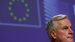 El jefe negociador de la UE para el Brexit Michel Barnier en una rueda de prensa el 24 de diciembre de 2020.