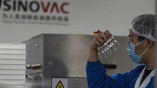 Çin'in başkenti Pekin'de bir görevli, SinoVac tarafından üretilen Covid-19 aşısının şırıngalarını incelerken