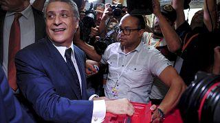 رجل الأعمال التونسي نبيل القروي خلال الجولة الثانية من الانتخابات الرئاسية في تونس 2019.
