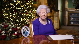 Britain's Queen Elizabeth II during her 2020 Christmas speech to the nation.