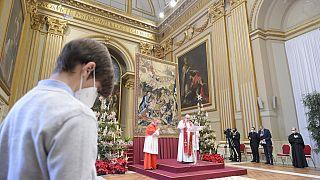 Der Papst während seiner Weihnachtsansprache im Apostolischen Palast