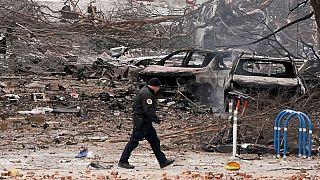 Il luogo dell'esplosione a Nashville, Stati Uniti