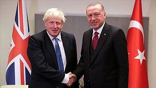 İngiltere Başbakanı Boris Johnson ile Türkiye Cumhurbaşkanı Recep Tayyip Erdoğan