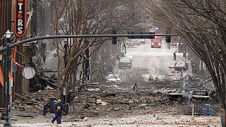 Le centre-ville de Nashville, aux Etats-Unis, après l'explosion d'un camping-car le 25 décembre 2020