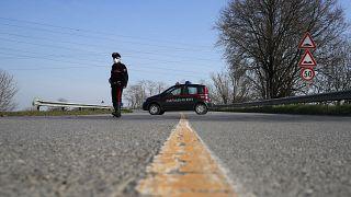 Photo d'archives - 24/02/2020 : la police tente d'isoler la ville de Codogno en Lombardie, où le 1er cas de Covid-19 a été constaté.