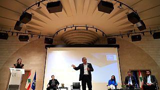 المدير التنفيذي السابق لشركة نيسان كارلوس غصن يتحدث خلال مرتمر صحفي في بيروت. 2020/09/29