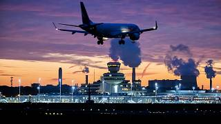 An aircraft lands at Berlin-Tegel airport in Germany on Nov. 5, 2020.