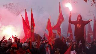 Several thousand people rallied in the capital Podgorica on Monday.