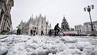 Schnee in Mailand am 28.12.2020