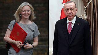 اردوغان و لیز تراس، وزیر بازرگانی بریتانیا