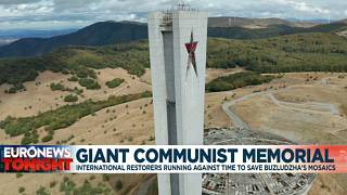 The Monument House of the Bulgarian Communist Party on top of the Buzludzha Peak, central Bulgaria.