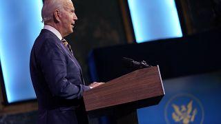 President-elect Joe Biden speaks at The Queen theatre, Tuesday, Dec. 29, 2020, in Wilmington, Delaware.