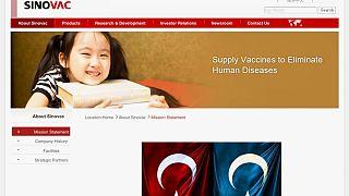 Haklenen Sinovac sitesinin ekran görüntüsü