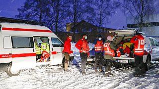 Emergency vehicles arriving after landslide in Norway