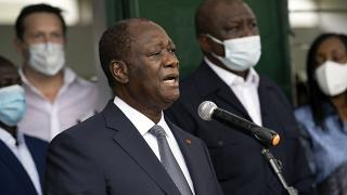 Ivory Coast President Alassane Ouattara after voting during presidential elections, Oct. 31, 2020.