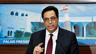 رئيس حكومة تصريف الأعمال في لبنان حسان دياب، في القصر الرئاسي في بعبدا، شرق بيروت، لبنان، الثلاثاء 21 كانون الثاني 2020