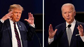 خلال المناظرة الرئاسية الأولى في جامعة كيس ويسترن وكليفلاند كلينك في كليفلاند، أوهايو، 29 سبتمبر 2020