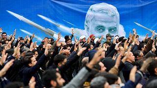 تظاهرات سال گذشته در تهران در اعتراض به حمله آمریکا به کاروان قاسم سلیمانی