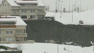 Imagen de varias viviendas afectadas por el alud en Ask, en el sur de Noruega.