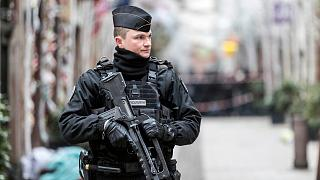 File photo: A French gendarme stands guard in a Strasbourg street. Dec. 12, 2018.