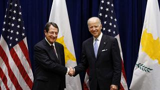 Joe Biden, right, meets with President Nicos Anastasiades