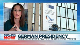 Euronews Brussels correspondent Efi Koutsokosta speaking on Euronews Now