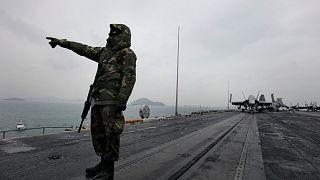 the aircraft carrier USS Nimitz in the Arabian Sea, Friday Nov. 27, 2020