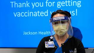 A nurse ready to provide vaccinations in Florida against coronavirus