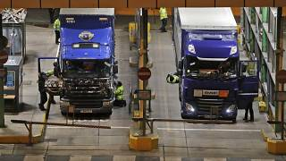Lorries that arrived after the end of the transition period with the European Union are checked at the port in Dover, England, Thursday, Dec. 31, 2020.