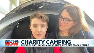 Max Woosey and his mother Rachael speaking from their tent in Braunton, England, Jan 1, 2021