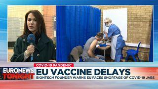 Euronews Brussels correspondent Efi Koutsokosta speaking on Euronews Tonight