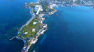 Aerial shot of Greek resort